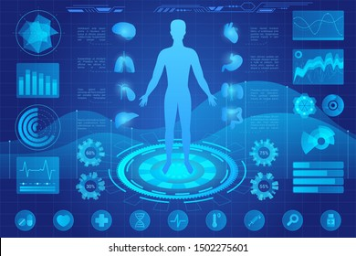 Human anatomy medical hologram vector illustration. Patient internal organs screening ar interface. Person medical condition hud ui. Diagrams, pie chart infographics. Medicine and healthcare icons