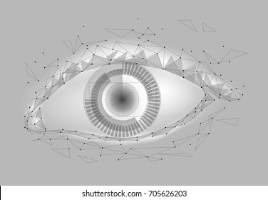 Human android cyborg eye futuristic control protection personal internet security access.Concept robot dna system, future scientific technology innovation science. Gray white polygonal vector