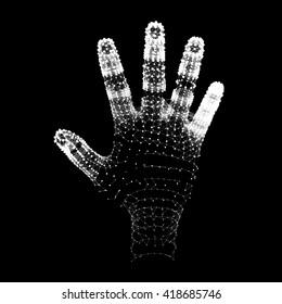 Human Arm. Hand Model. 3d Covering Skin. Vector Illustration.