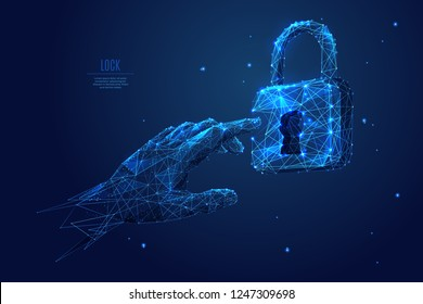 Human arm or hand or palm is touching lock symbol. digital image of email or internet symbol. Low poly blue. Polygonal abstract technology  illustration. Digital vector illustration as a starry sky.