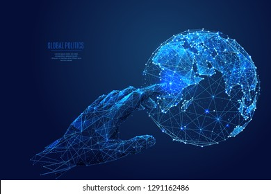 Human arm or hand or palm is touching Planet Earth. Digital image of Globe. Low poly blue. Polygonal abstract technology or religion  illustration. Digital vector illustration of world as a starry sky
