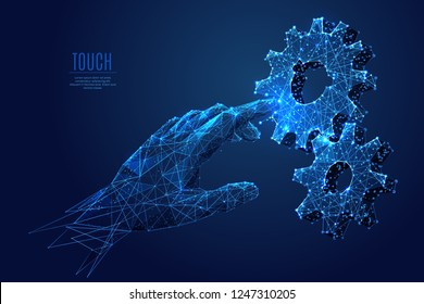 Human Arm touch gears composed of polygons. Low poly vector illustration of a starry sky style. gearing consists of lines, dots and shapes. Internet or digital or devices and computer symbol