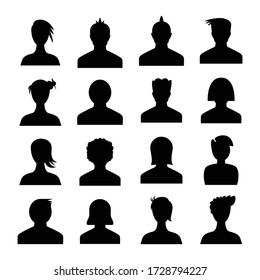 human avatar icons set silhouette theme