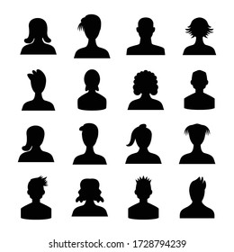 human avatar icons set silhouette theme