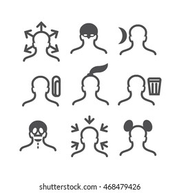 Human avatar thin line set: pony tail, night, in, out, trash box, mouse ears, binder, x-ray skeleton