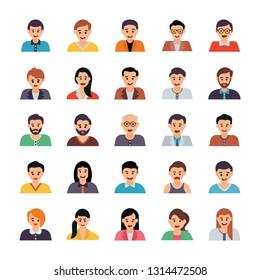 Human Avatars Flat Icons Pack