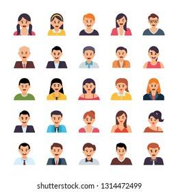 Human Avatars Flat Icons Set