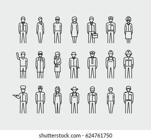 Human avatars, people professions, set vector thin line icons