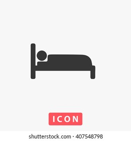 Human in bed. Grey flat simple icon Vector. Simple flat symbol. Illustration pictogram