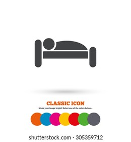 Human in bed sign icon. Travel rest place. Sleeper symbol. Classic flat icon. Colored circles. Vector