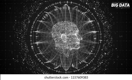 Human Big data visualization. Futuristic Artificial intelligence concept. Cyber mind aesthetic design. Machine learning. Complex data threads in form of head side view and binary data.
