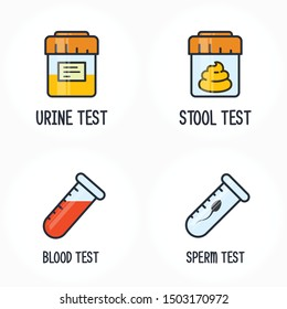 Human biology tests, sperm, blood, urine and stool DNA icon, test containers
