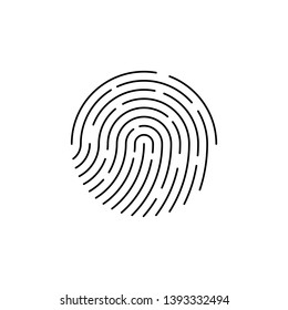 Human black color fingerprint for security check at the entrance.  Human fingerprint for security verification during identification or authorization vector eps10
