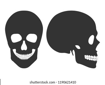 Human black skull in profile and full face isolated on white background. Vector illustration