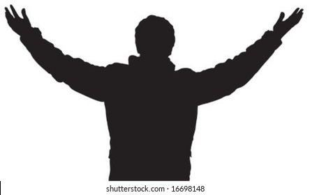 Human black and white silhouette with wide arms