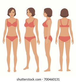 human body anatomy, front, back, side view, vector woman illustration