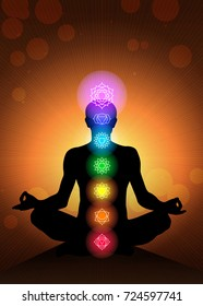 human body chakras vector background