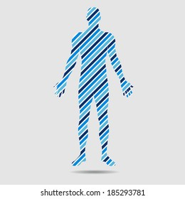 Human body in diagonal stripes to be use in infographics. Abstraction of body stress, body tension, body pain, body movement,energetic people,human being composition structure