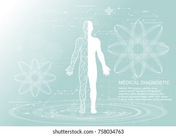 Human body health care, with medical icons, organs, charts, diagrams and copy space.