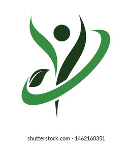 human body healthy fit with leaf circular vector logo design template.
