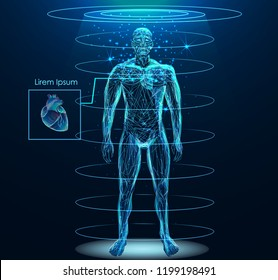 Human body with Human heart low poly wireframe. Low poly wireframe mesh with scattered particles and light effects on dark background.