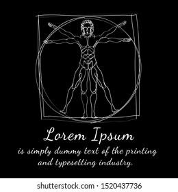 Human body. Homo vitruvianus. Classic proportion man. Vector illustration. Health man.