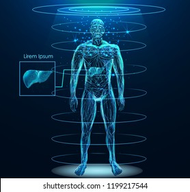 Human body with Human Liver internal organ low poly wireframe. Low poly wireframe mesh with scattered particles and light effects on dark background.