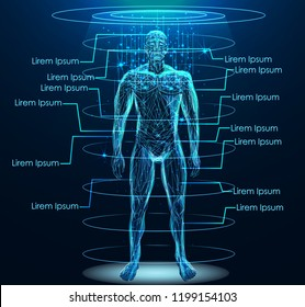 Human body low poly wireframe. Low poly wireframe mesh with scattered particles and light effects on dark background.