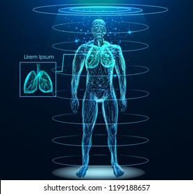 Human body with human lungs low poly wireframe. Low poly wireframe mesh with scattered particles and light effects on dark background.