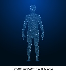 Human body made by points and lines, polygonal low poly wireframe mesh on night sky, dark blue background. Vector illustration.