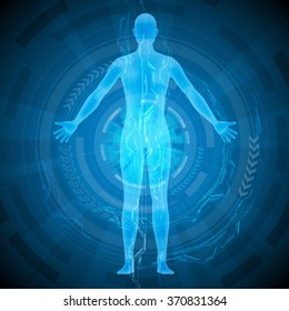 human body and medical technology, abstract image, vector illustration