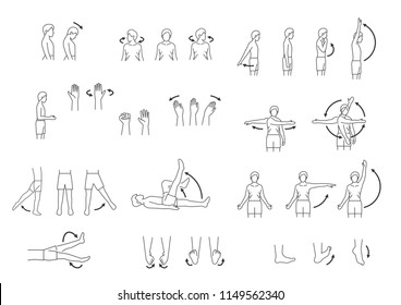 human body movement icon set