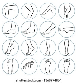 Human body parts. Foot care Icons Set. Vector illustrations line art pack of human feet in various gestures.
