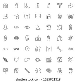 Human body parts line icons set. linear style symbols collection, outline signs pack. vector graphics. Set includes icons as human internal organs, heart, brain, torso, blood, backbone, eyeball organ