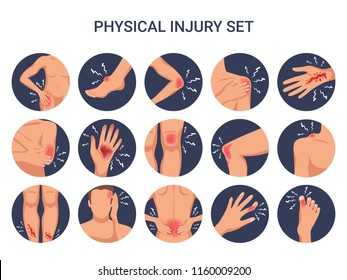 Human body physical injury round flat set with shoulder knee finger burn cut wounds isolated vector illustration