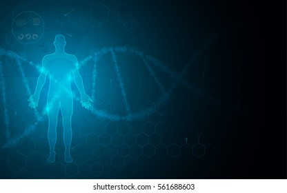 human body scanning hi tech innovation health care concept background