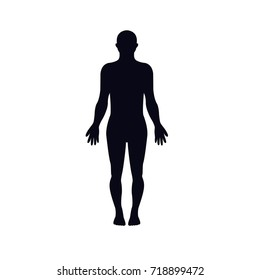 human body silhouette icon. man without clothes. anatomy icon. man front side silhouette. male man body icon vector eps10