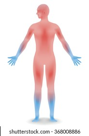 human body silhouette and sensitivity to cold, vector illustration