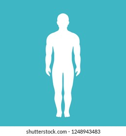 Human body vector silhouette illustration isolated on blue background