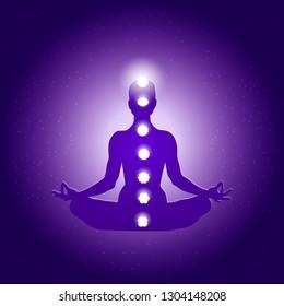 Human body in yoga lotus asana and seven chakras symbols on dark blue purple starry background