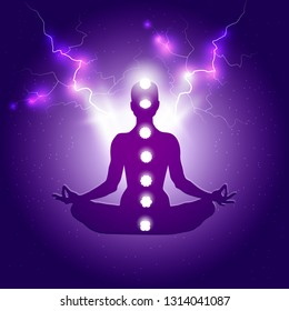 Human body in yoga lotus asana and seven chakras symbols on dark blue purple starry background with light or lightning bolts
