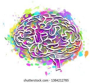 The human brain. Abstract, colorful silhouette of the brain side view on a white background with splashes of colorful paint.