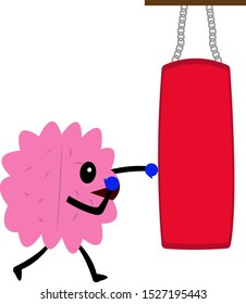 human brain in boxing gloves beats punching bag active cartoon character for design objects on a white background