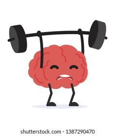 human brain Cartoon Lifting Weights
