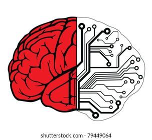 an human brain as a central processing unit. vector digital illustration