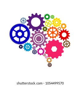 Human brain with colorful brain flat gears. Vector illustration of gears brain colorfully on white background.