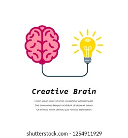 Human brain connected to lightbulb. Creative brainstorm concept, business and education idea. Flat style illustration.