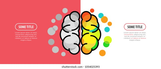 Human brain. Creative mind concept. Infographic design template. Vector illustration