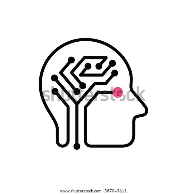 human brain digital circuit board vector stock vector  royalty free  587043611