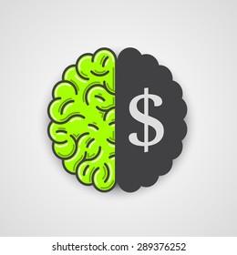 Human brain with dollar sign. Vector illustration